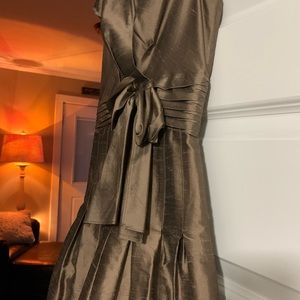 Cocktail, evening, gorgeous taupe wrap dress